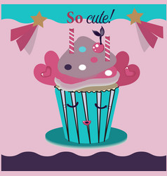 cute and sweet cupcakes vector image