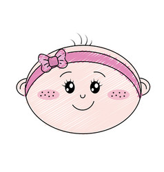 Cute baby girl face with ribbon bow in the head vector