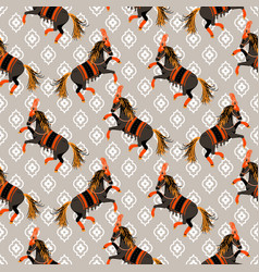 dark horse grey and orange seamless pattern vector image