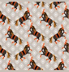 Dark horse grey and orange seamless pattern vector