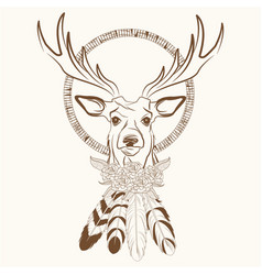 deer with dream catcher with feathers vector image