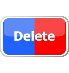 delete word on web button icon isolated on vector image