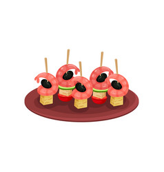 Delicious canape with shrimps black olives vector