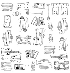 Doodle of many tools music vector