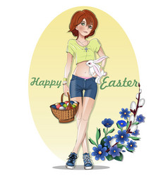 easter card with a cute girl vector image