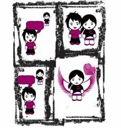 emo love comics vector image
