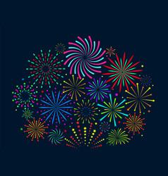 festive fireworks christmas salute new vector image