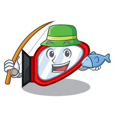 fishing side mirror in a cartoon box vector image