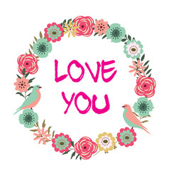 floral frame i love you vector image