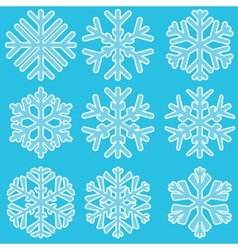 Geometric blue snowflakes set vector image