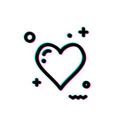 Glitch heart icon vector