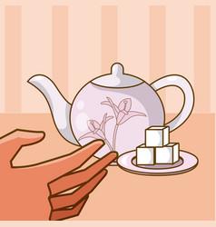 Hand grabbing a tea with sugar vector