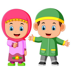 happy muslim kid cartoon vector image