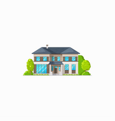 House two-storied building country style villa vector