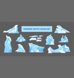 Icebergs transparent set vector