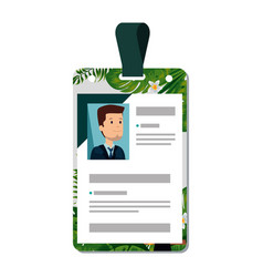 Identification badge with tropical flowers print vector