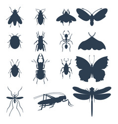 Insects silhouette icons isolated wildlife wing vector
