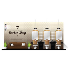 Interior background of vintage barber shop vector