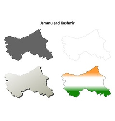 Jammu and Kashmir blank outline map set vector