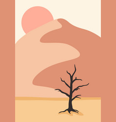 landscape poster with old tree in desert abstract vector image