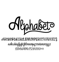 Latin alphabet font handwriting with upper and vector
