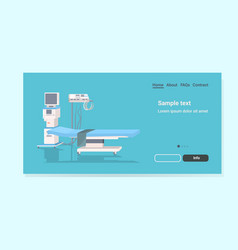 Life support machine and bed at hospital ward or vector