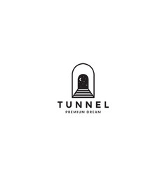 Lines tunnels with night moon logo symbol icon vector