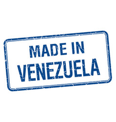 Made in venezuela blue square isolated stamp vector