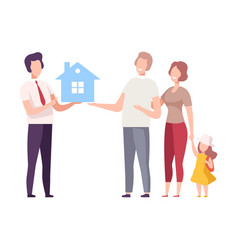 Male real estate agent offering house for sale to vector