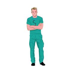 Male white medical tech wearing green scrubs vector