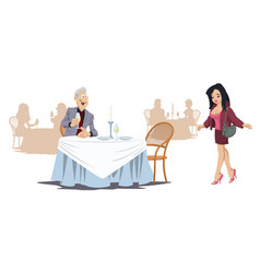 man and girl in cafe funny people in restaurant vector image