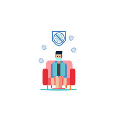 Man sitting in sofa stay at home cartoon vector