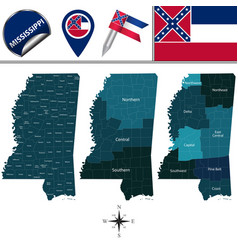 Map of mississippi with regions vector