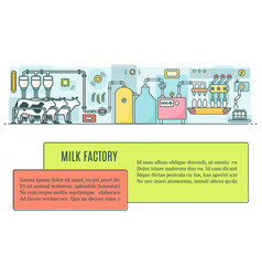milk factory in linear style vector image