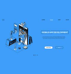 mobile app development - line design style vector image