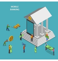 Mobile Banking Flat Isometric Concept vector image