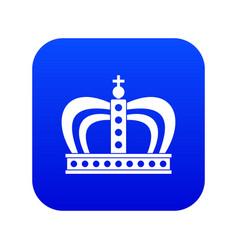 Monarchy crown icon digital blue vector