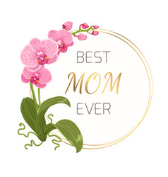 Mothers day greeting card pink orchid gold wreath vector