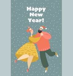 new year greeting card couple at a party vector image