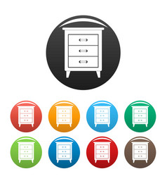night stand icons set color vector image