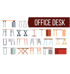 office desk set home table office vector image