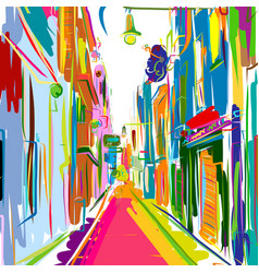 Old european street sketch for your design vector