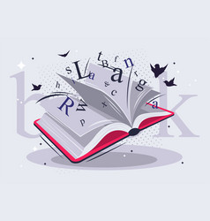 Open book with pages and letters vector