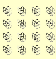 outline set of emoticons icons funny banny vector image