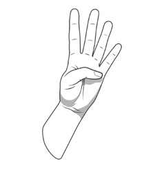 Palm hand number four gesture vector image