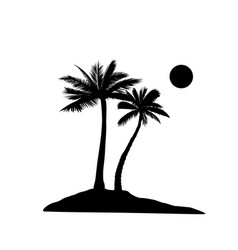 Palm tree silhouette summer holiday nature vector