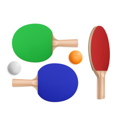 Ping pong rackets and balls for table tennis vector