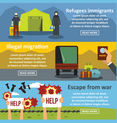 Refugees migrate banner horizontal set flat style vector
