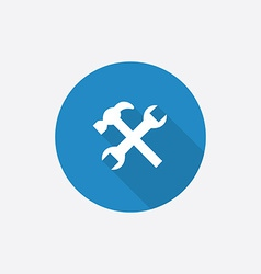 Repair Flat Blue Simple Icon with long shadow vector