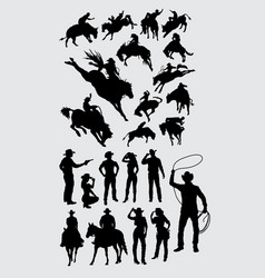Rodeo cowboy riding animal silhouettes vector